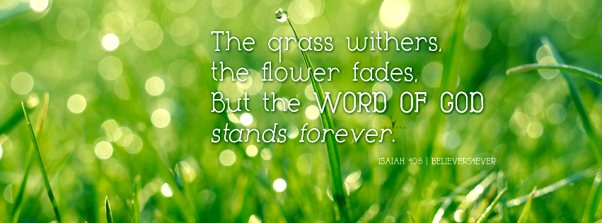 The grass withers, Free Christian facebook timeline cover photo, bible verse facebook banners, scripture Facebook banners, bible quotes, inspiration quotes christian, Christian graphics, Isaiah 40:8 facebook timeline cover, Christian FB covers, Facebook timeline banner, bible verse Facebook cover photos