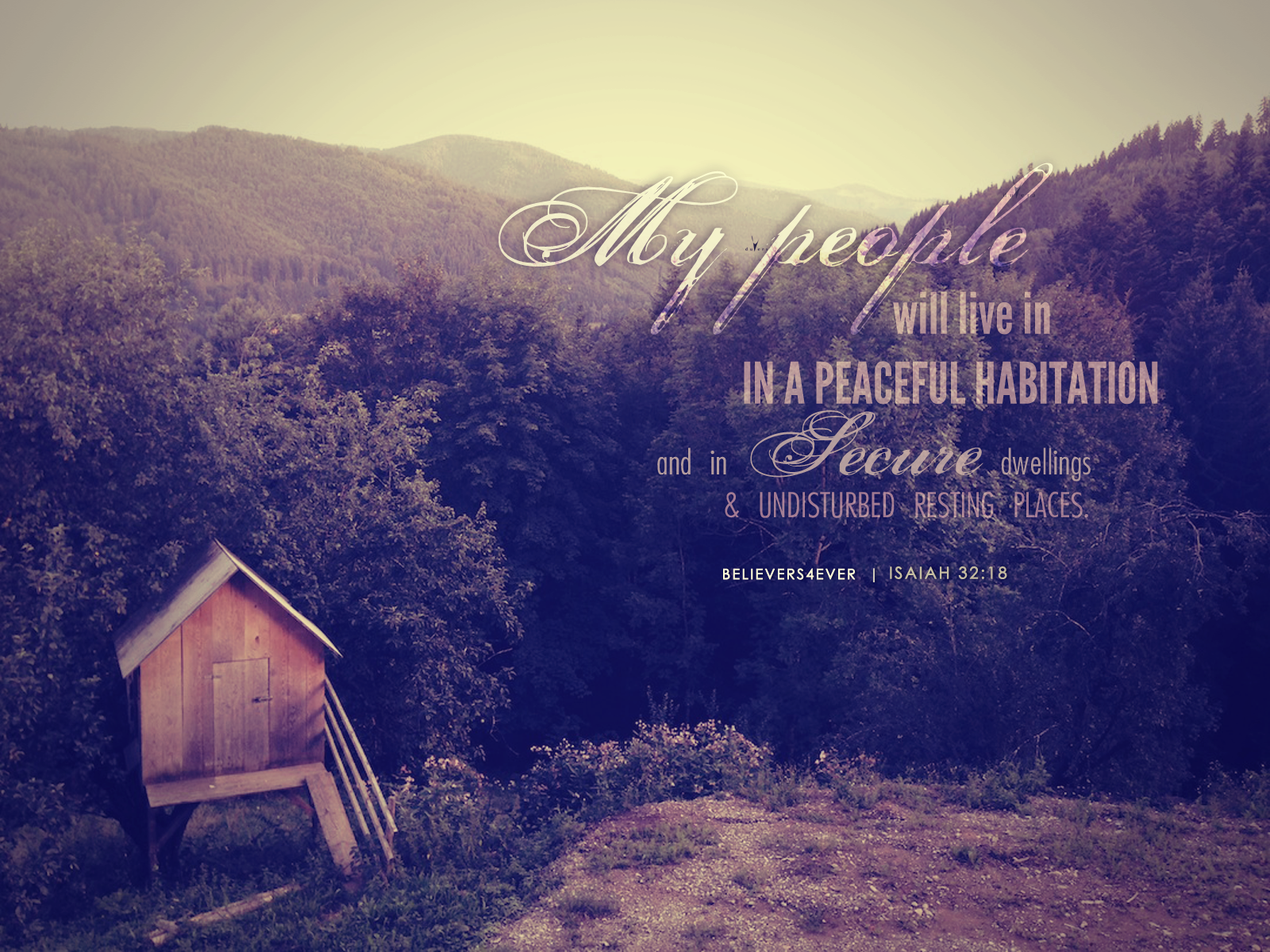 Isaiah 32: 18. My people will live in a peaceful habitation Christian wallpaper