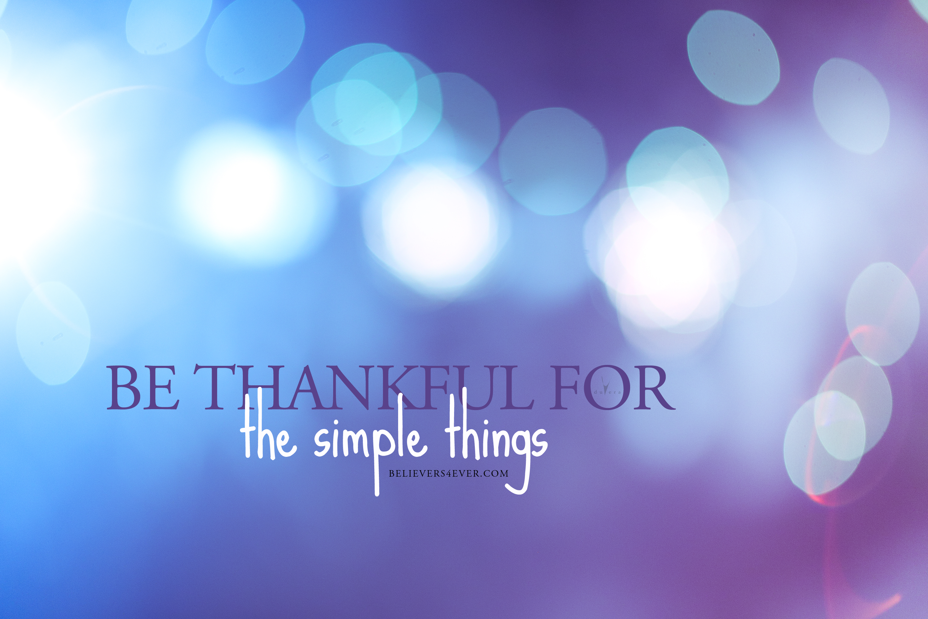 Be thankful for the simple things