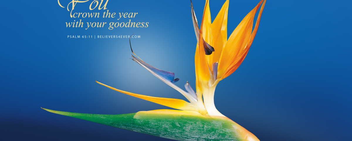 You crown the year with your goodness. Psalm 65:11. Happy new year christian greeting. Christian wallpaper