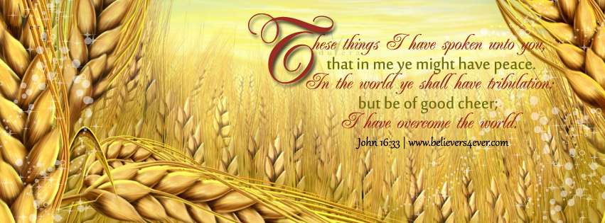 These things I have spoken unto you, that in me ye might have peace. In the world ye shall have tribulation: but be of good cheer; I have overcome the world. John 16:33, Facebook timeline cover photo, Free Christian facebook timeline cover photo, Christian Facebook graphics, Christian facebook cover photo, Christian facebook timeline image, Christian cover photo, bible verse facebook banners, facebook banners, banners for facebook, Christian profile banners, Christian Facebook timeline banner, Timeline cover photo, Facebook timeline cover