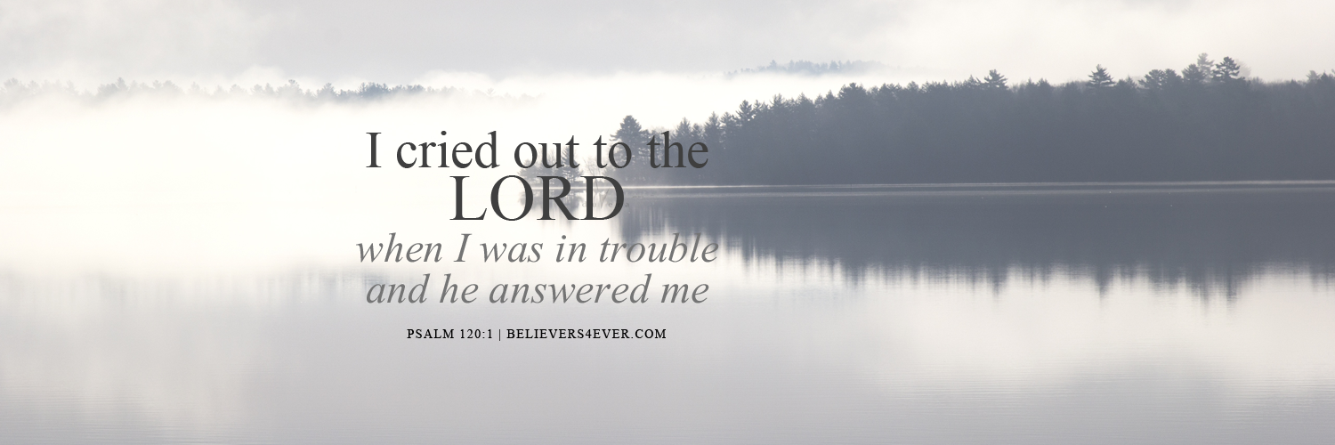Twitter header photo with bible verse. Use for church sermons and more. I cried out to the Lord when I was in trouble and he answered me. Psalm 120:1, Scripture, Christian twitter header