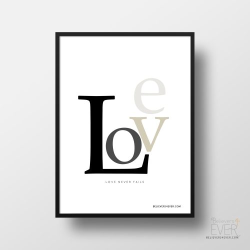 Love never fails poster Christian and inspirational poster