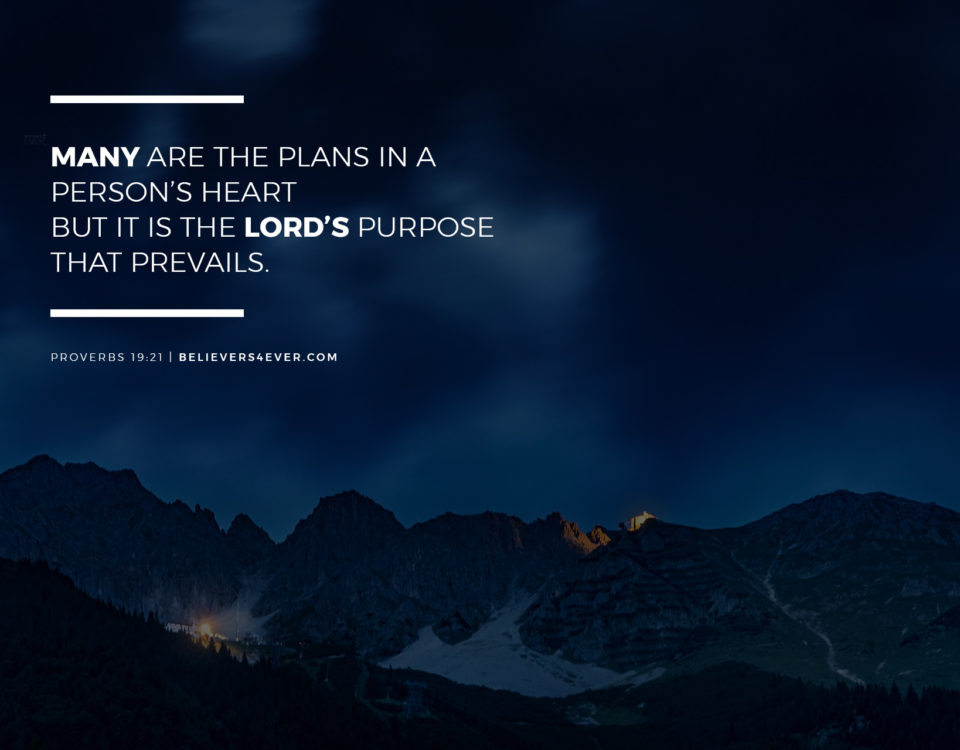 Many are the plans in a person's heart but it is the Lord's purpose that prevails. Proverbs 19:21.